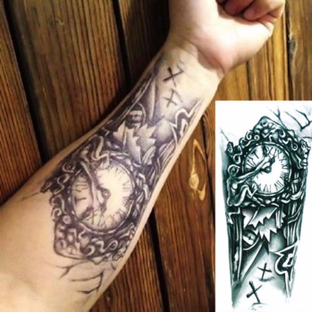 Longs Tatuajes Temporales Tattoo Manches Cody Art Vintage vieille horloge temporaire Faux Flash Tatoo autocollant Taty
