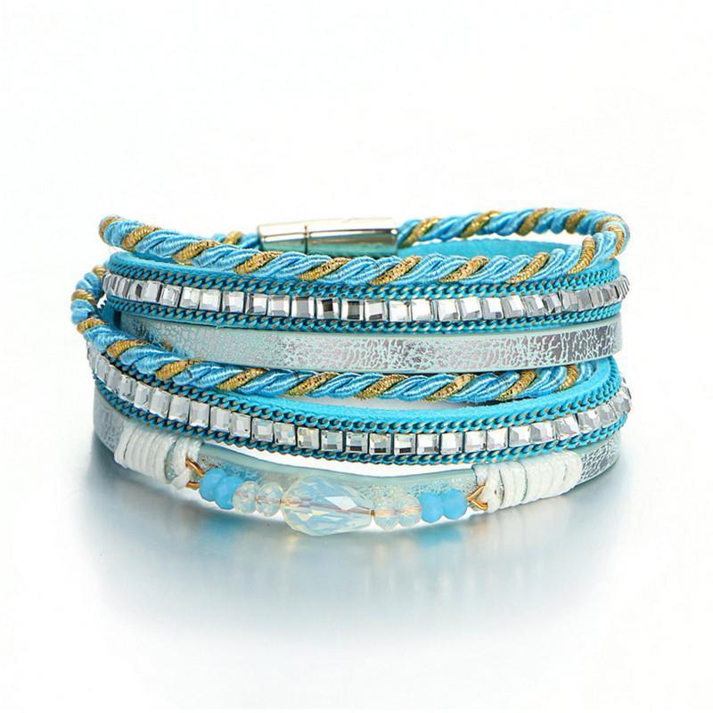 Браслеты очарования Bracelets WWLB Brands Brands Bracte для женщин Многослойная веревка с горный хрусталь из обмотки кожаных браслетов ювелирных изделий