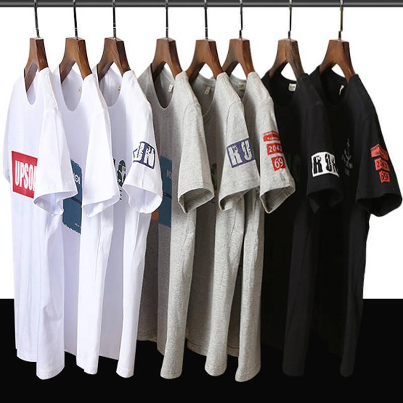 2021 Sommer Kurzarm koreanische Druck große Männer locker sitzender Baumwollt-shirt