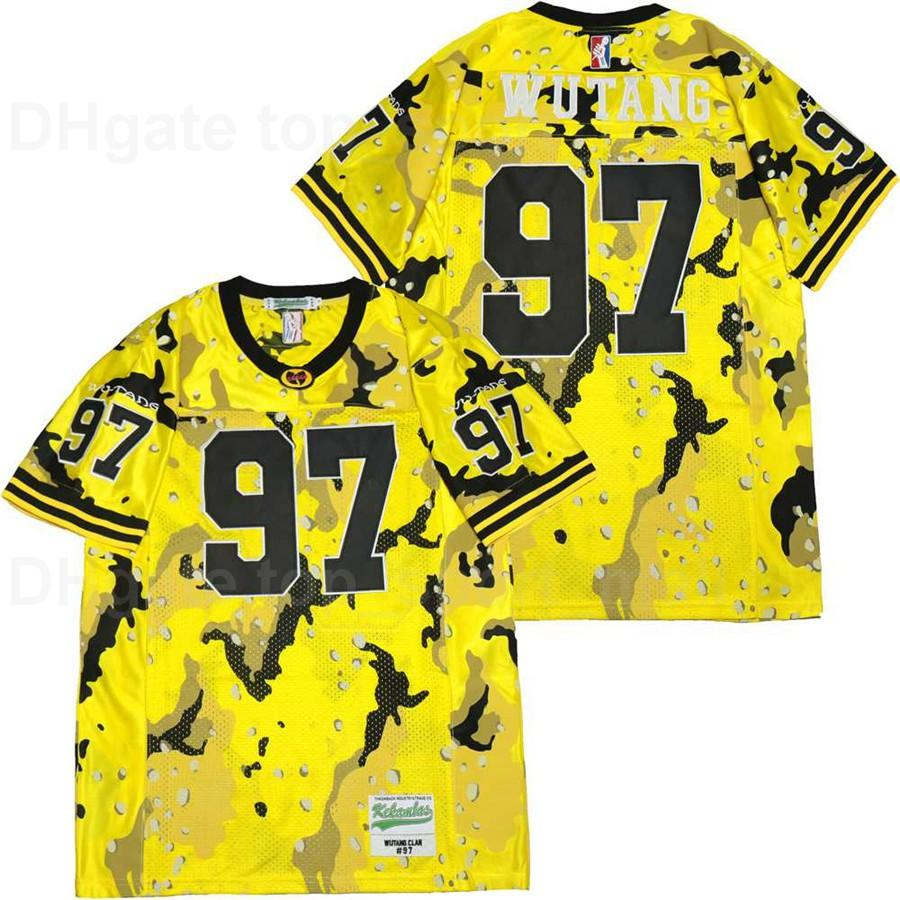 Men Football 97 Wu Tang Clan Jersey Desert Camo Hip Hop Rap All Stitched Pure Cotton Sport Team Color Yellow Breathable High Quality
