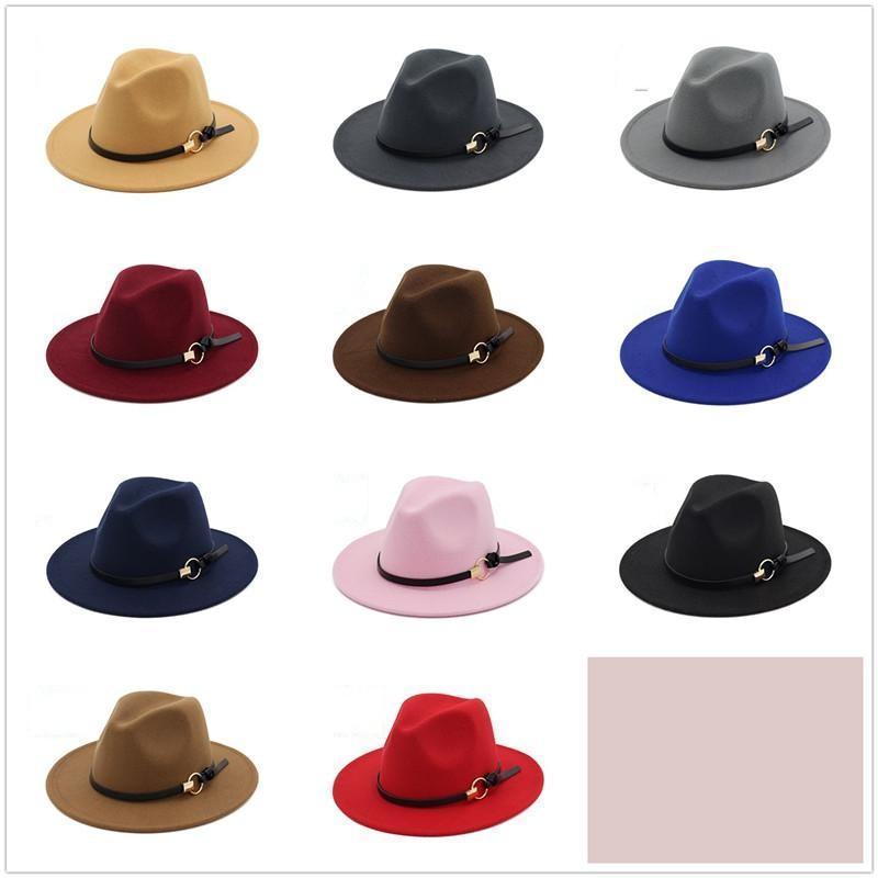 New Fashion Top Hats для мужчин Женщины Элегантная мода Твердое чувствовало Федора Хана Группа Широкие плоские Brim Jazz Hats Стильные Трилби Панама Кэпс