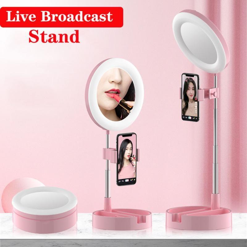 Titulares de montagem de telefone celular transmitido ao vivo Broadcast Mobile Stand preguiçoso Vídeo de classe Ajustável Selfie Selfie Makeup Espelho LED Fill Light for ins Youtu