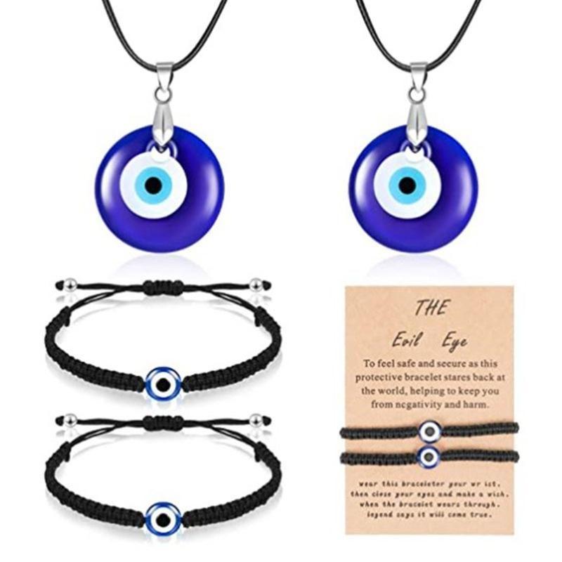 Кулон ожерелья с злым глазным ожерельем браслет синий турецкая смола кожаная веревка для женщин мужчины счастливые защитные подарки