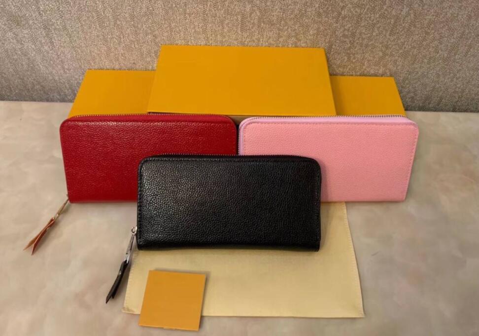 Vendita calda Free 3 Colors Fashion Singolo Zipper Designer Uomo Donne Women Giacking Portafoglio in pelle Lady Ladies Borsa lunga Nessuna scatola
