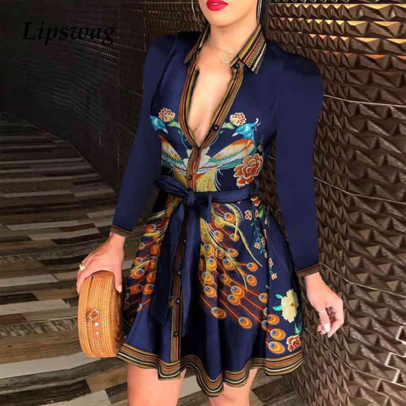 Элегантная цепная буква печати рубашка платье лето женщин v-образным вырезом повязки кнопка платье винтаж с длинным рукавом мини-вечеринка платья Vestidos T200914