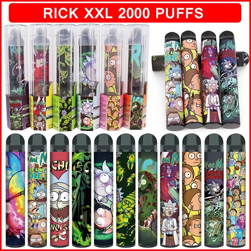 릭 XXL 일회용 전자 담배 vape 디바이스 2000 퍼프 800mAh 전원 배터리 미리 포장 된 6ml 포드 카트리지 증기 기화기 펜 전자 vapes