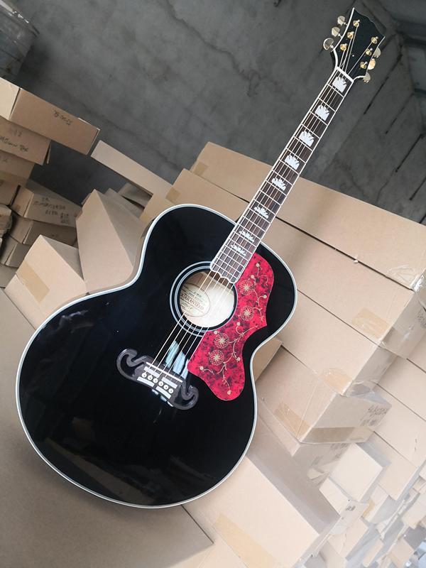مخصص 43 بوصة الغيتار الصوتية، الغيتار الأسود، جوفاء 200 غيتار، جثة القيقب، هووغني الرقبة