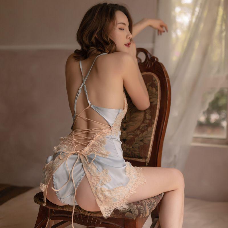 섹시한 나이트 드레스 여성 얼음 실크 슬링 얇은 레이스 홈 서비스 서양 스타일 개인 잠옷