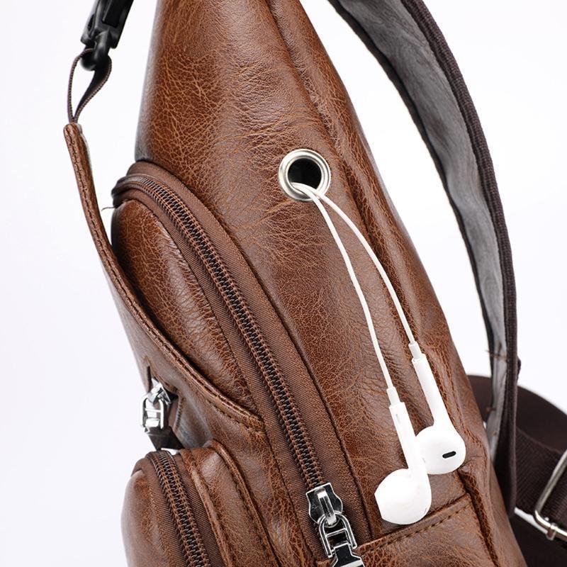 Taille Taschen 066c Männer Mode Crossbody Single Umhängetasche USB Sport Outdoor Casual BRUST