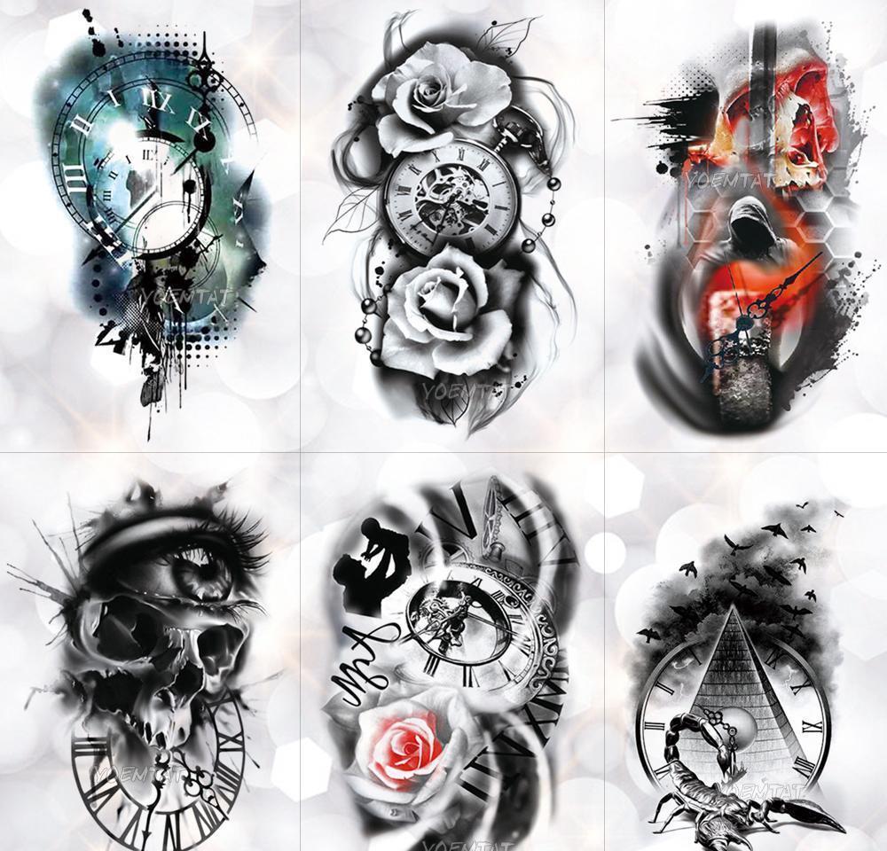 Aile Gül Zaman Saat Kafatası Geçici Dövme Sticker Akrep Kulesi Su Geçirmez Tattoos Vücut Sanatı Kol Sahte Tatoo Inz Fbshy