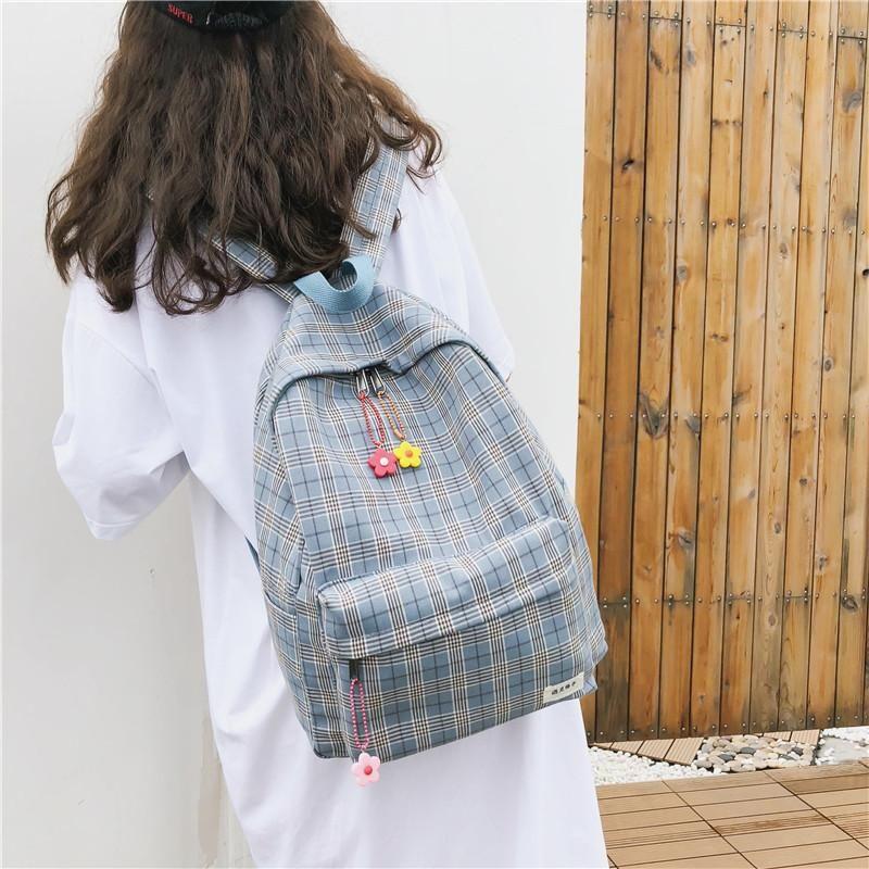 야외 가방 숙녀 고용량 빈티지 감각 소녀 가방 한국어 간단한 캔버스 격자 배낭 캠퍼스 고등학교 대학생