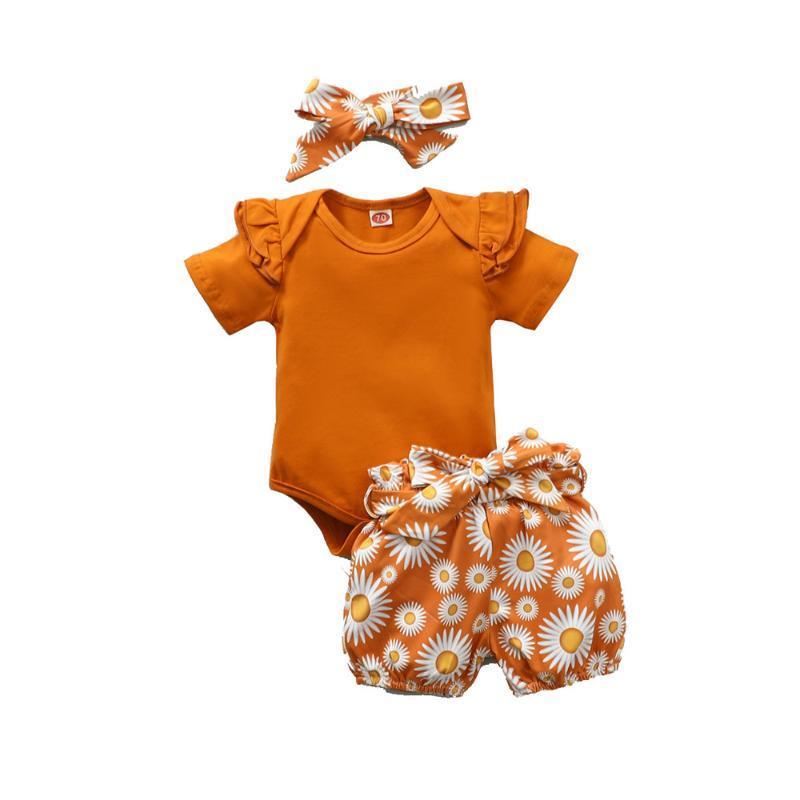 Wenazao Nacido Niños Bebé Bebé Trajes de verano Conjunto Cuello redondo Manga corta Romper Floral Impreso Shorts Cintura Cintura Diadema Conjuntos de ropa