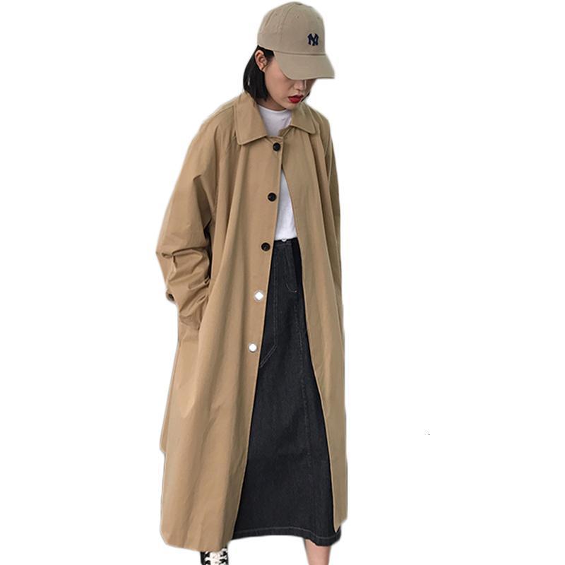 한국 의류 도매 여자 긴 트렌치 코트 캐주얼 싱글 브레스트 대형 윈드 브레이커 솔리드 컬러 여성 여성용 코트
