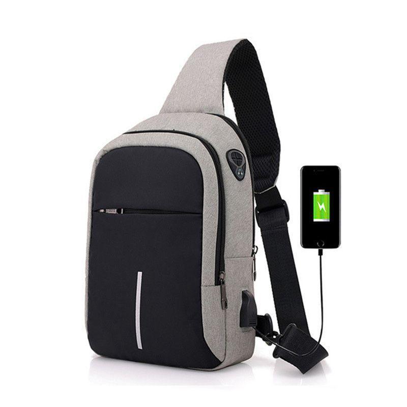 Küçük USB Şarj Bir Omuz Çantası Erkek Messenger Çanta Erkek Su Geçirmez Sling Göğüs Bebek Seyahat Bagpack Çapraz Vücut M405 Bel