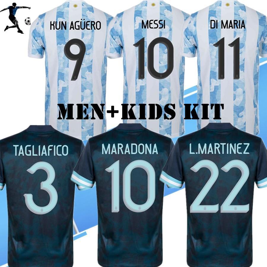 جديد 2021 2022 Soccer Jerseys America 21 22 الأرجنتين كرة القدم قميص ميسي dybala aguera lo مارتينيز camiseta دي فوبرول الرجال + أطفال كيت