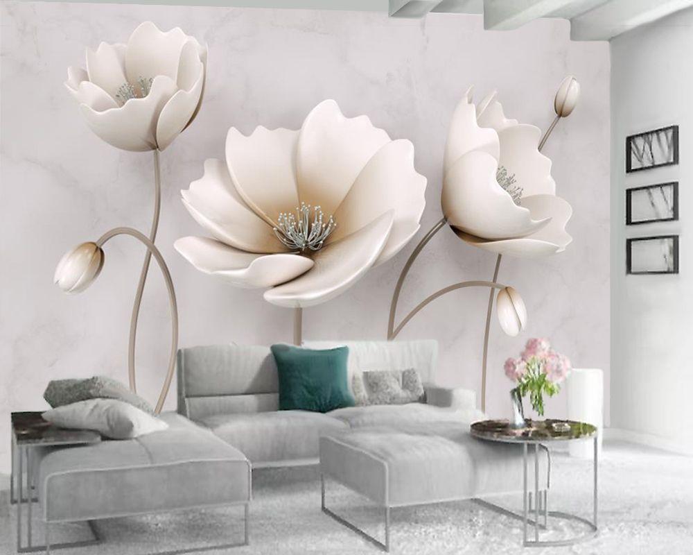 사용자 정의 3D 꽃 벽지 북유럽 우아한 꽃 대리석 질감 홈 장식 거실 침실 주방 벽 화려한 벽지를 취재