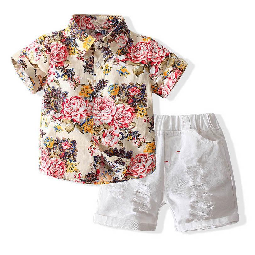 Boys Clothing Sets Boy Suit Children Outfits Summer Cotton Short Sleeve Flower Shirts Hole Shorts Pants 2Pcs 2-8Y B5066