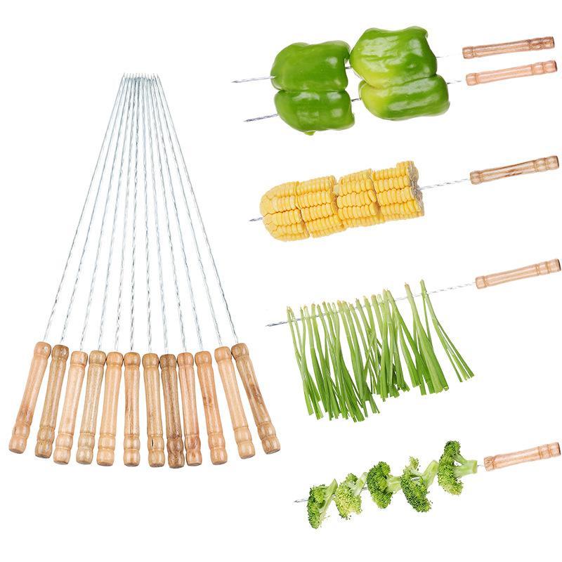 12 pçs / set kabob espetos punho de madeira aço inoxidável BBQ Skewer churrasco grelhar kabobs palitos conjunto reusável BBQ varas gwe7528