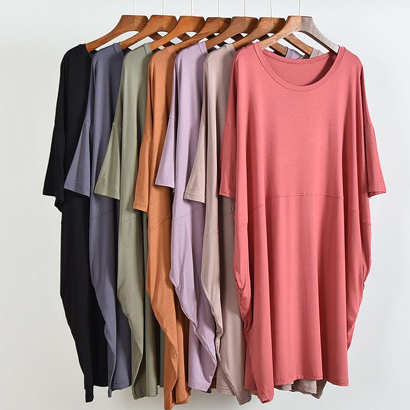 Kadın Pijama Artı Yağ 100 KG Gecelik Kadın Kısa Kollu Modal Gecelikler Kadın Gevşek Yumuşak Elbise Ladie's Gece Gömlek