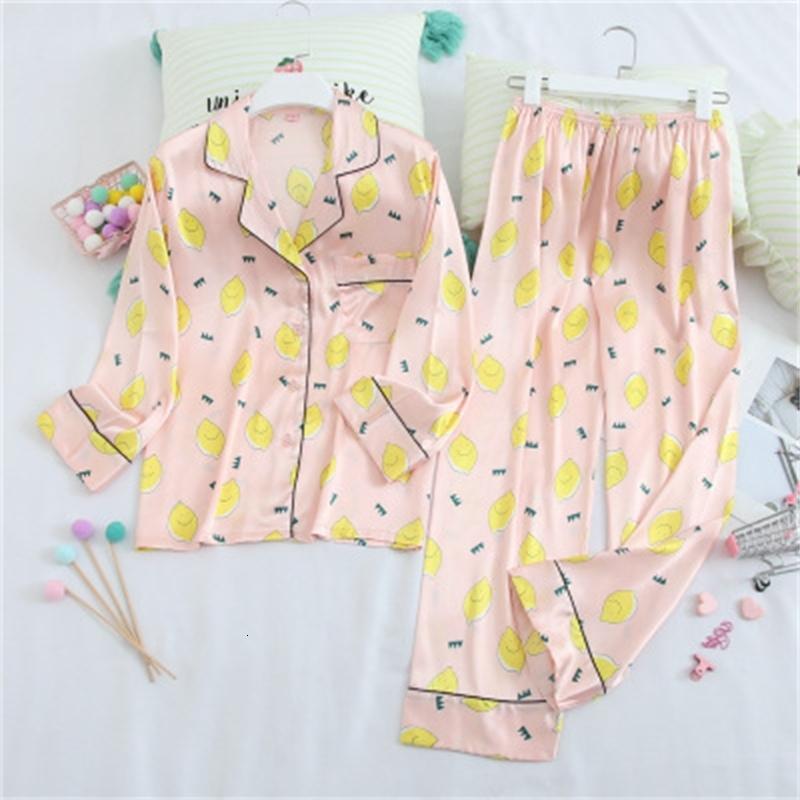 Mulheres Sleepwear Ins Estilo Senhoras Senhoras Sleepwear Pijamas Mangas Longas Roupas Início Impresso Cardigan Shirt + Pant Pant Silk Pijamas Mulheres Pijama Set C1XY