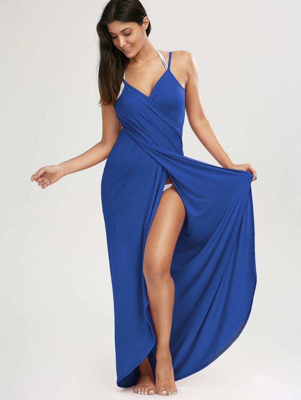 Beach Maxi Sexy Wrap Swimsuit Dress Women Summer Spaghetti Straps Veil Split Bikini Cover Ups Towels ZEVC