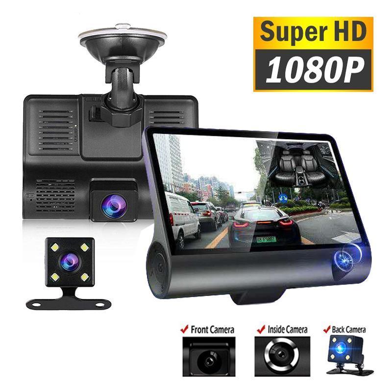 Araba Dikiz Kameralar Park Sensörleri 1080 P 3 Lens Dash Kam 4 Inç Ekran DVR Loop Kayıt G-Sensor Gece Görüş Monitörü Oto Video Reco