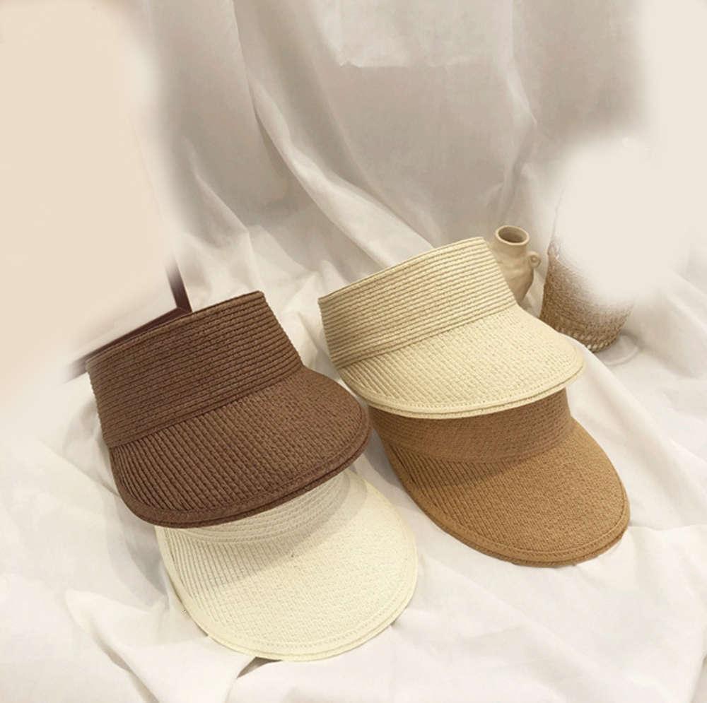 Tidal Seaside OutdoorPapyrus Deformazione vuota Versatile Summer Solid Color Sun Hat Pieghevole senza cima