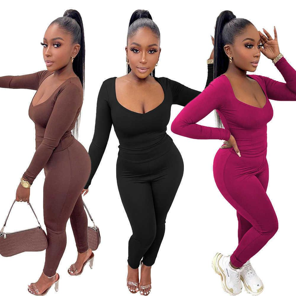 Women Fitness 2 Piece Matching Set Sporty Tracksuits Long Sleeve T-shirts+slim Fit Legging Loungewear Outfits