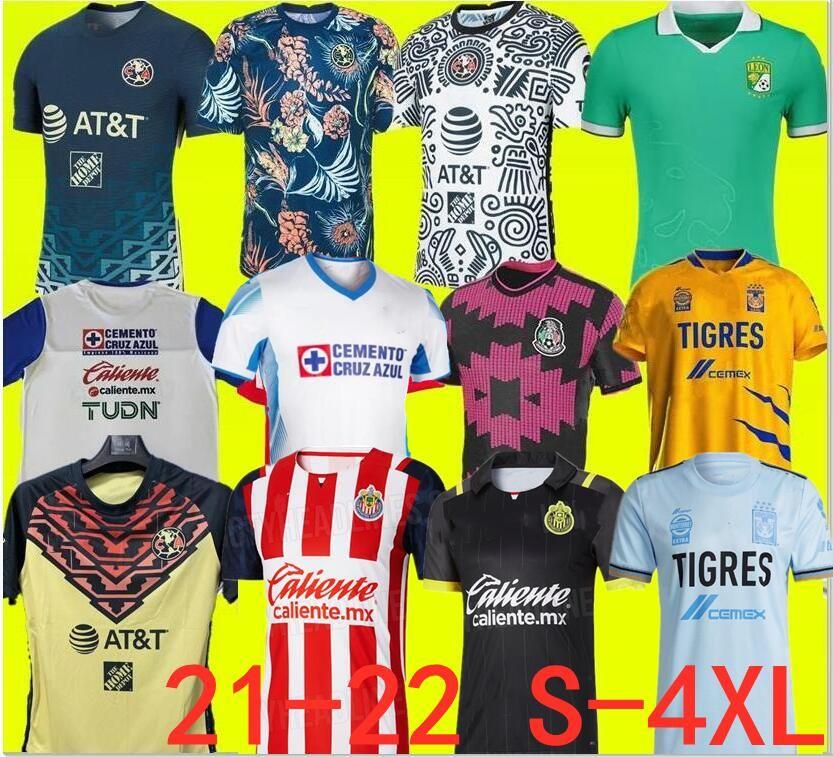 Taille S-4XL LIGA MX 21 22 Club America Soccer Jerseys Leon Troisième 2021 2022 Mexique Léon Tijuana Tigres Unam Chivas Guadalajara Cruz Azul Chemises de football