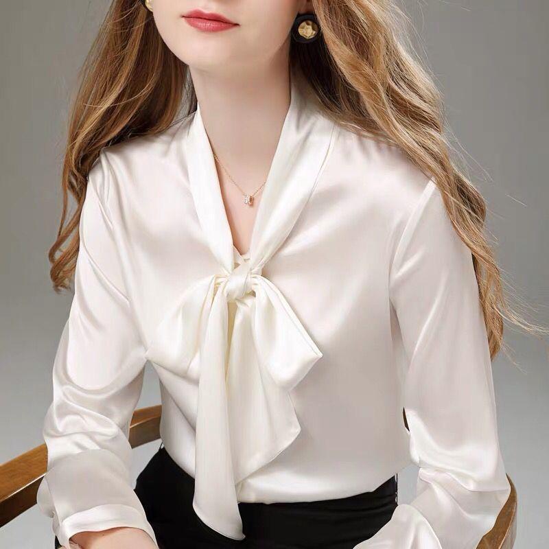 Mode Silk Shirt Retro Top Weiß Frauen Langarm Lose Straße Blusen 002 Damenhemden
