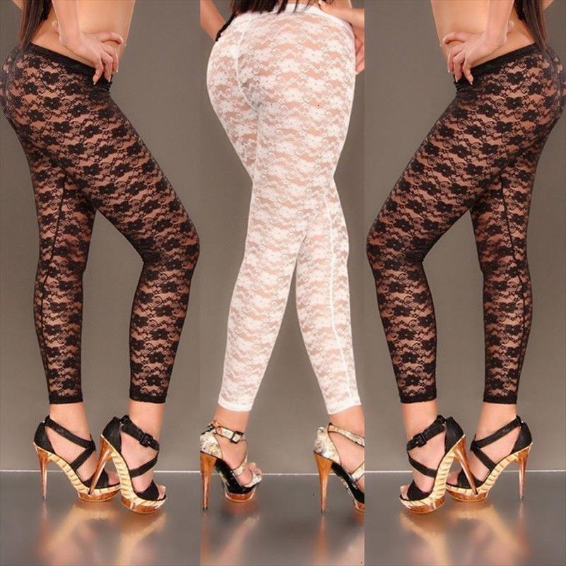 Skinny Hirigin женщины сексуальные кружева цветочные печать стильные полые леггинсы видят через брюки упругого bodycon deaggings черный whixhahwi