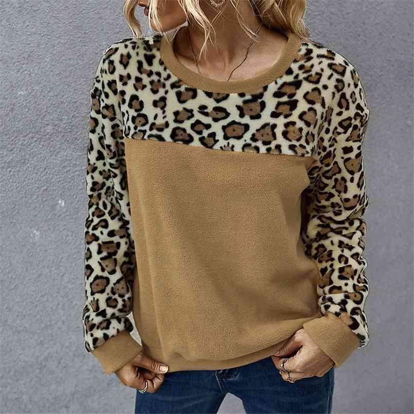 Fashion Sweatshirt Winter Polar Fleece Sexy Leopard Print Contrasting Color Long-Sleeved T-shirt Women sweatshirt clothing 210508