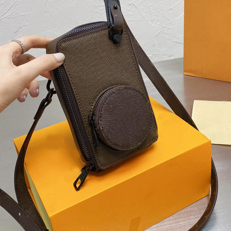 Strap Camera Bag Crossbody Shoulder Bags Small Handbags Purse Brown Leather Classic Letter Zipper Wallets Clutch