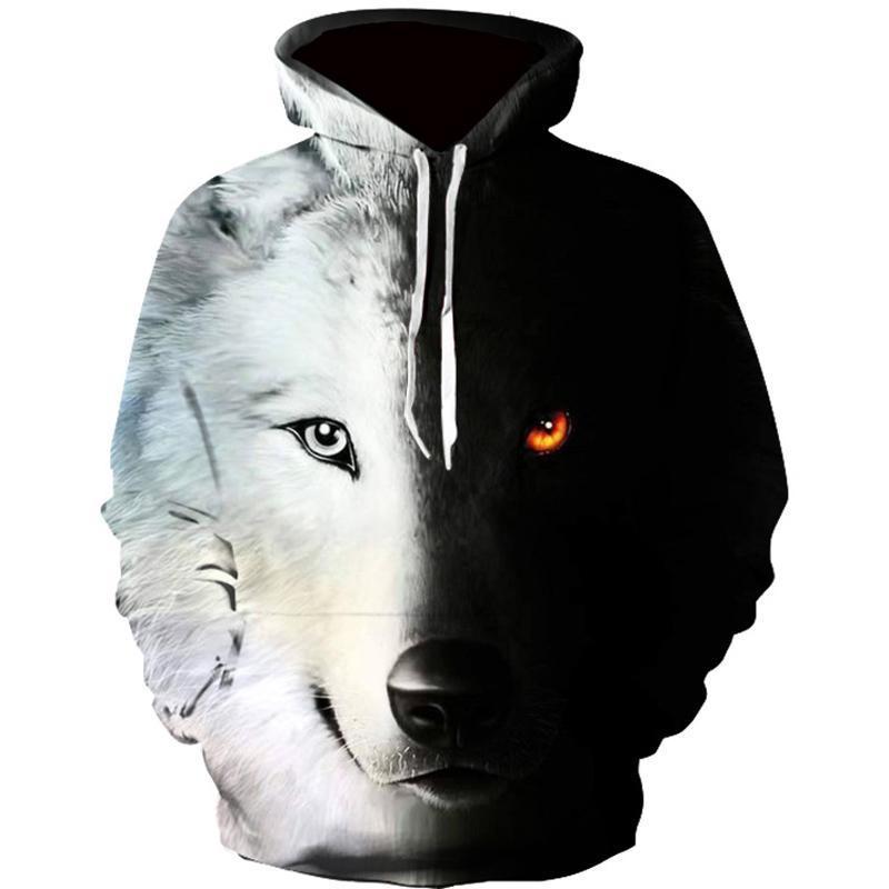 Imprimé Harajuku Hoodie Homme Homme Wolf Loup 3D-Imprimé Homme / Femme Sweatshirt Homme Sweatshirts Homme Sweatshirts