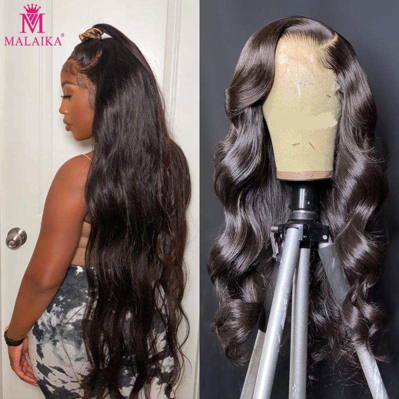 MALAIKA 30 Inç Vücut Dalga 13x4 Dantel Ön İnsan Saç Peruk Siyah Kadınlar Için Perulu Virgin Ön Kopardı Frontal Peruk