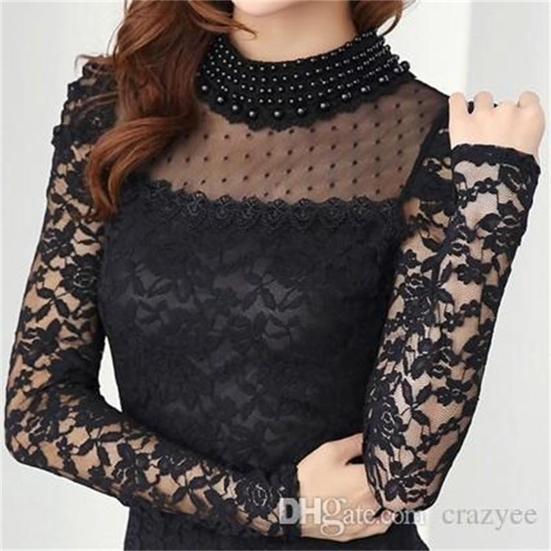 Women's Blouses & Shirts Plus size M-XXL Blouse New fashion Stand Pearl Collar Lace Crochet Long Sleeve Sexy Tops For Women U7B1