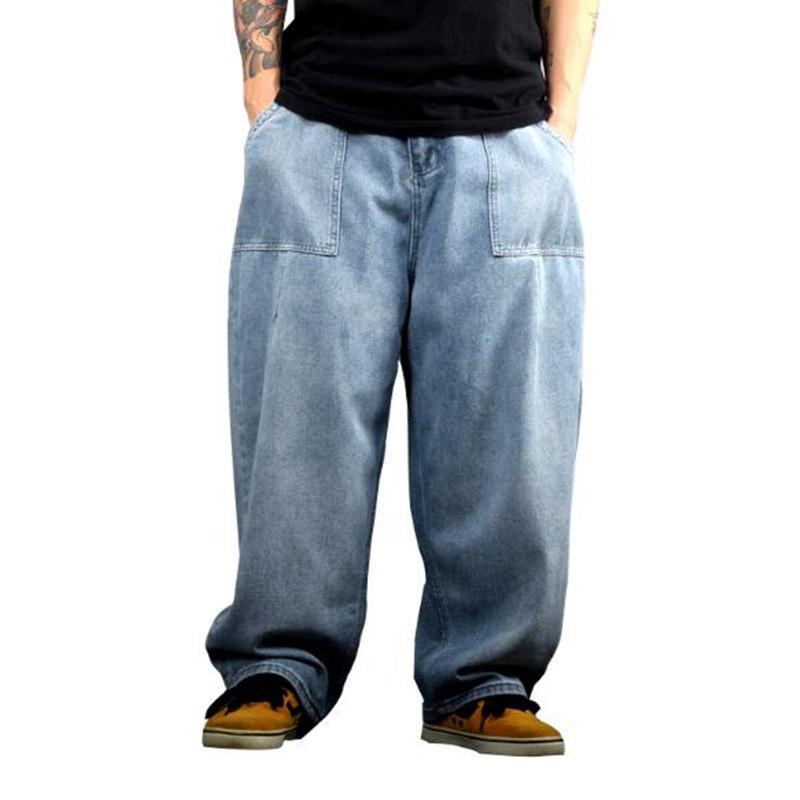Männer Jeans plus Größe Lose Gerade Bein Hip Hop Casual Wide Hose Fett Skateboard