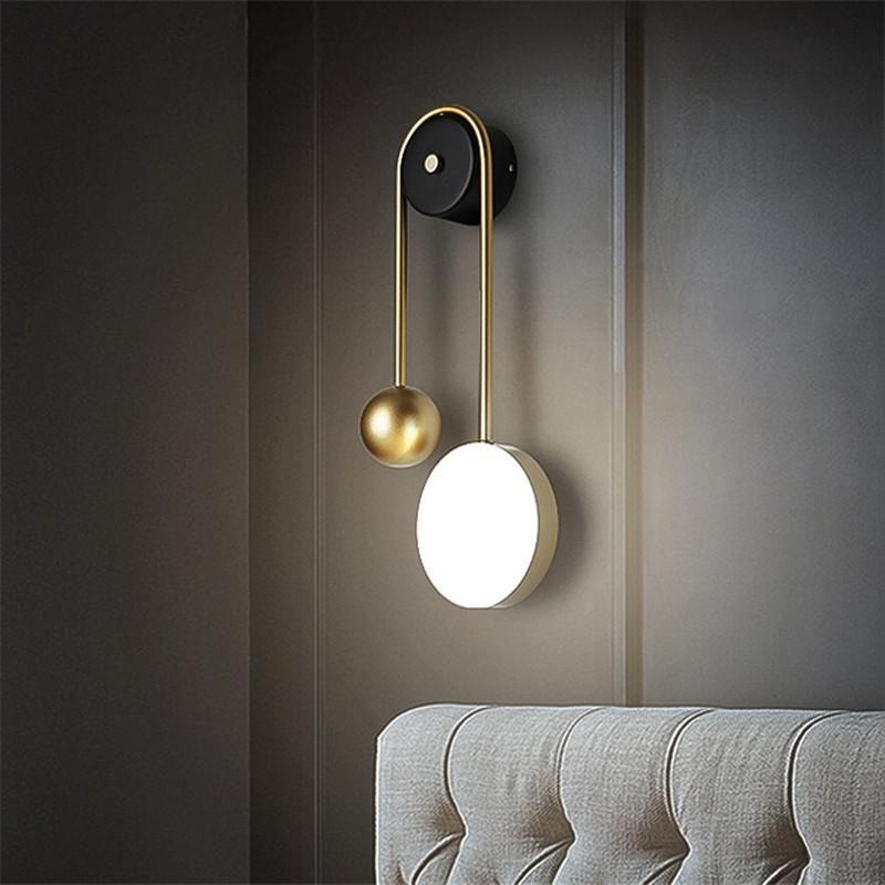 Desenhador Lâmpada de parede cobre LED minimalista ferro redondo sofá fundo quente luz branca ler