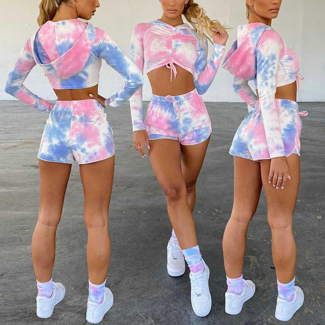 Fitness Casual 2 pieza conjunto Mujeres otoño con capucha cordón cordón top Top + cintura elástica Shorts Slim Tie Dye Imprimir Jogger Trajes Damas 210526