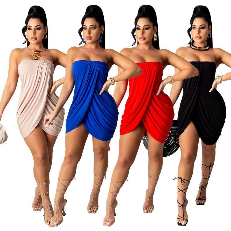 مثير غير النظامية مطوي حمالة اللباس المرأة حزب فساتين أنيقة الوردي الأحمر والأزرق اللون