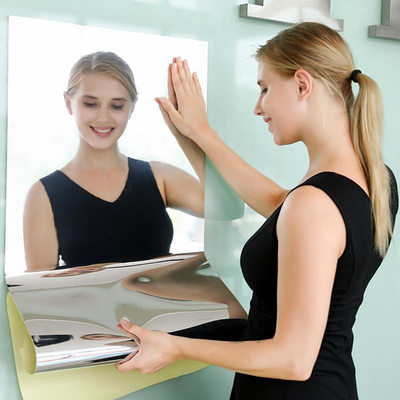 Mirror Stickers Bathroom Sticker 3d Wallpaper Mirrors Home Improvement Makeup Decor Room Long Wall Decoration