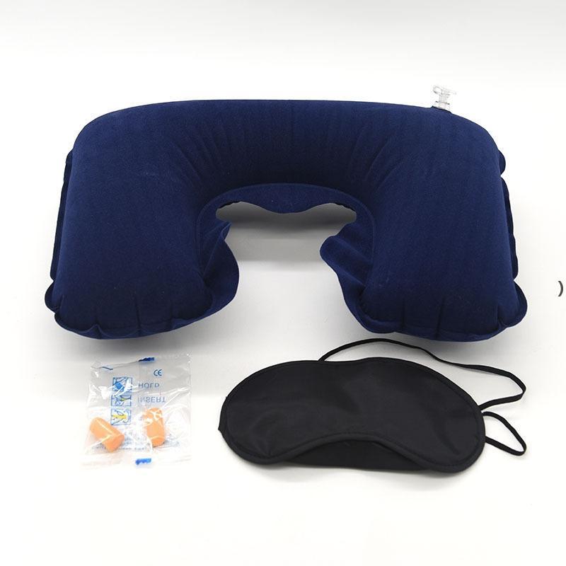 Оптовая 3 в 1 набор путешествий надувная U-образная подушка надувной подушки воздуха + спальная маска для глаз Eyeshade + затычка автомобиля мягкая подушка NHA5351