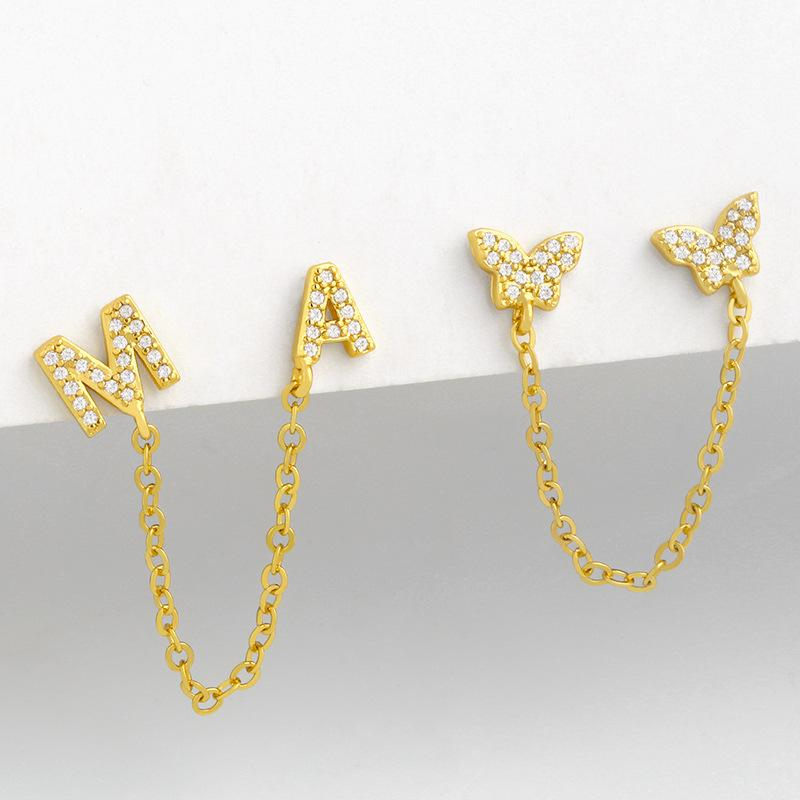 디자이너 크리 에이 티브 간단한 멋진 바람 체인 나비 편지 AM 다이아몬드 귀걸이 여성의 ERV07