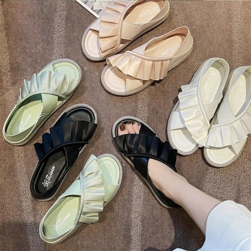 2021 Sommersandalen 1 Fuß Set All Match Casual Küstenstrand Frauen Schuhe Gürtelschnalle schwarz