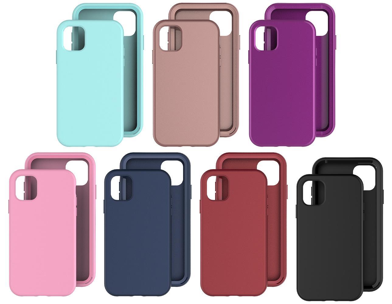 360 Полная защита ПК Чехлы для ПК для iPhone 11 12 Mini Pro Max 7 Цветов 2 в 1 Крышка ТПУ