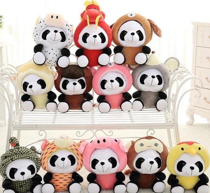Kids cute panda pelúcia brinquedos marca pelúcia animais boneca 20 cm 12models crianças aniversário criativo presentes 1231