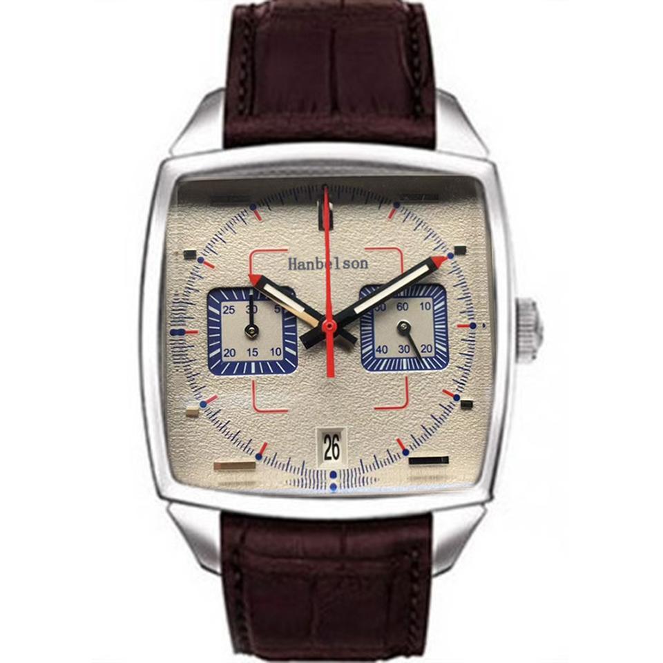 Montre de Luxe VK Kuvars Hareketi Erkek İzle Kare Yüzey Paslanmaz Çelik Aydınlık Mavi Deri Kayışı Relojes Lujo Para Hombre Gri Dial Chronograph Saatler