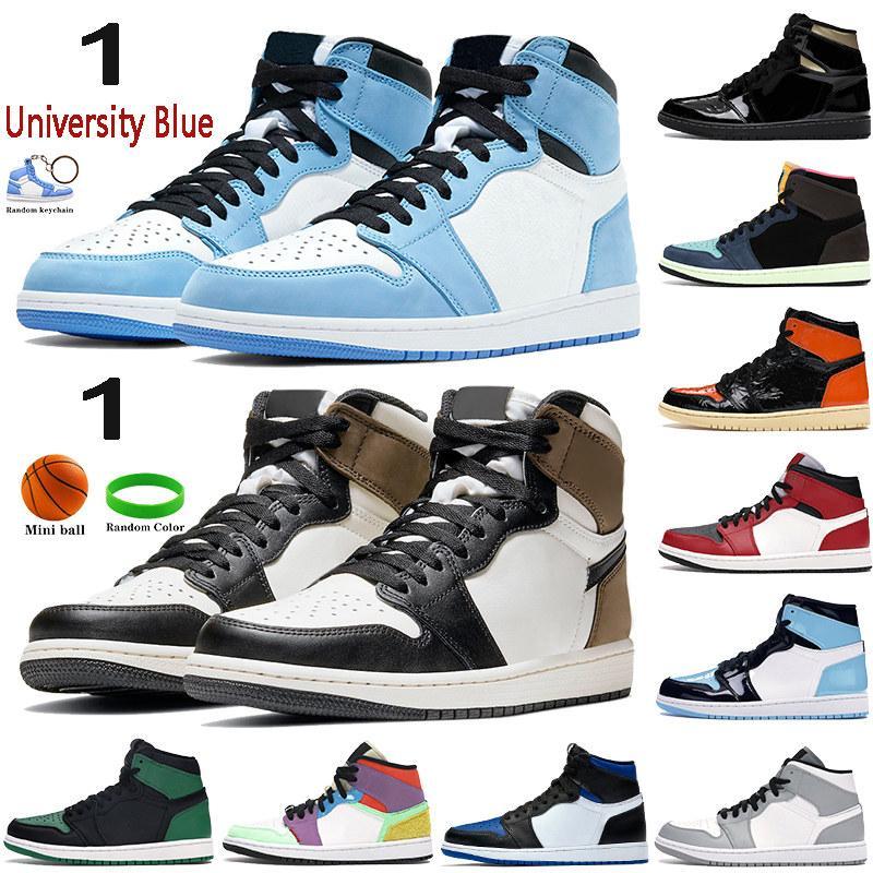 1 Yüksek 1 S Basketbol Ayakkabı Üniversitesi Mavi Karanlık Mocha Gümüş Chicago Toe Işık Duman Gri UNC Patent Siyah Metalik Altın Erkek Kadın Sneakers