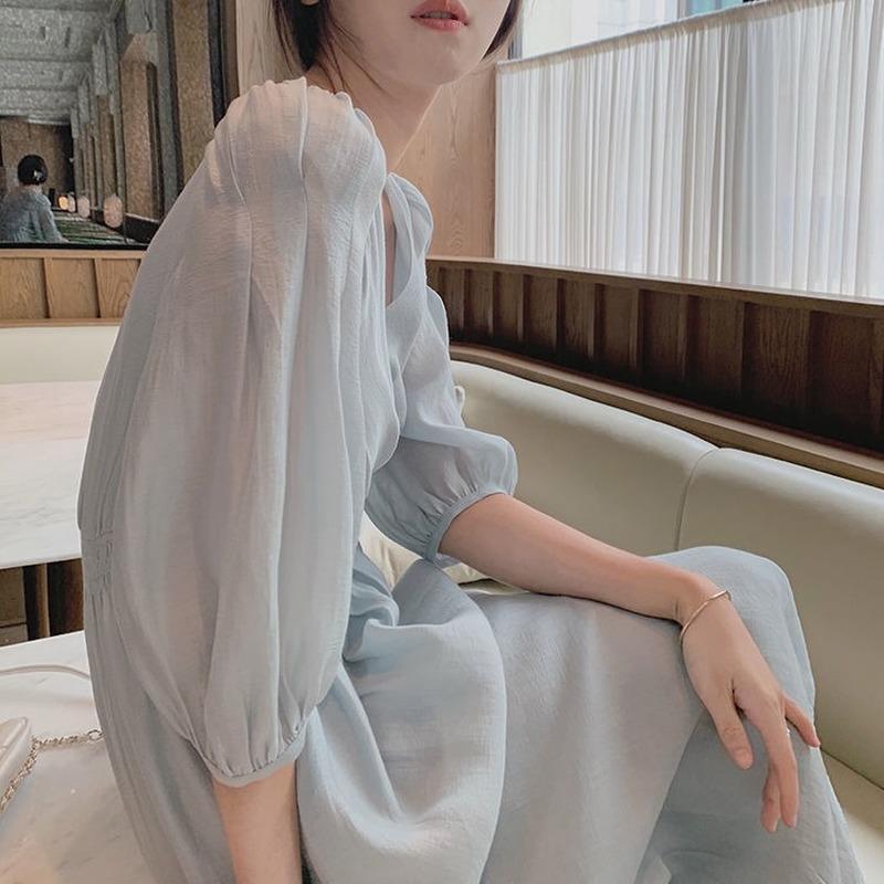 Été Français Robe rétro femme élégante manche bouffante coréenne robe coréenne femme bureau décontracté v-cou de mousseline de mousseline de fée pour wome