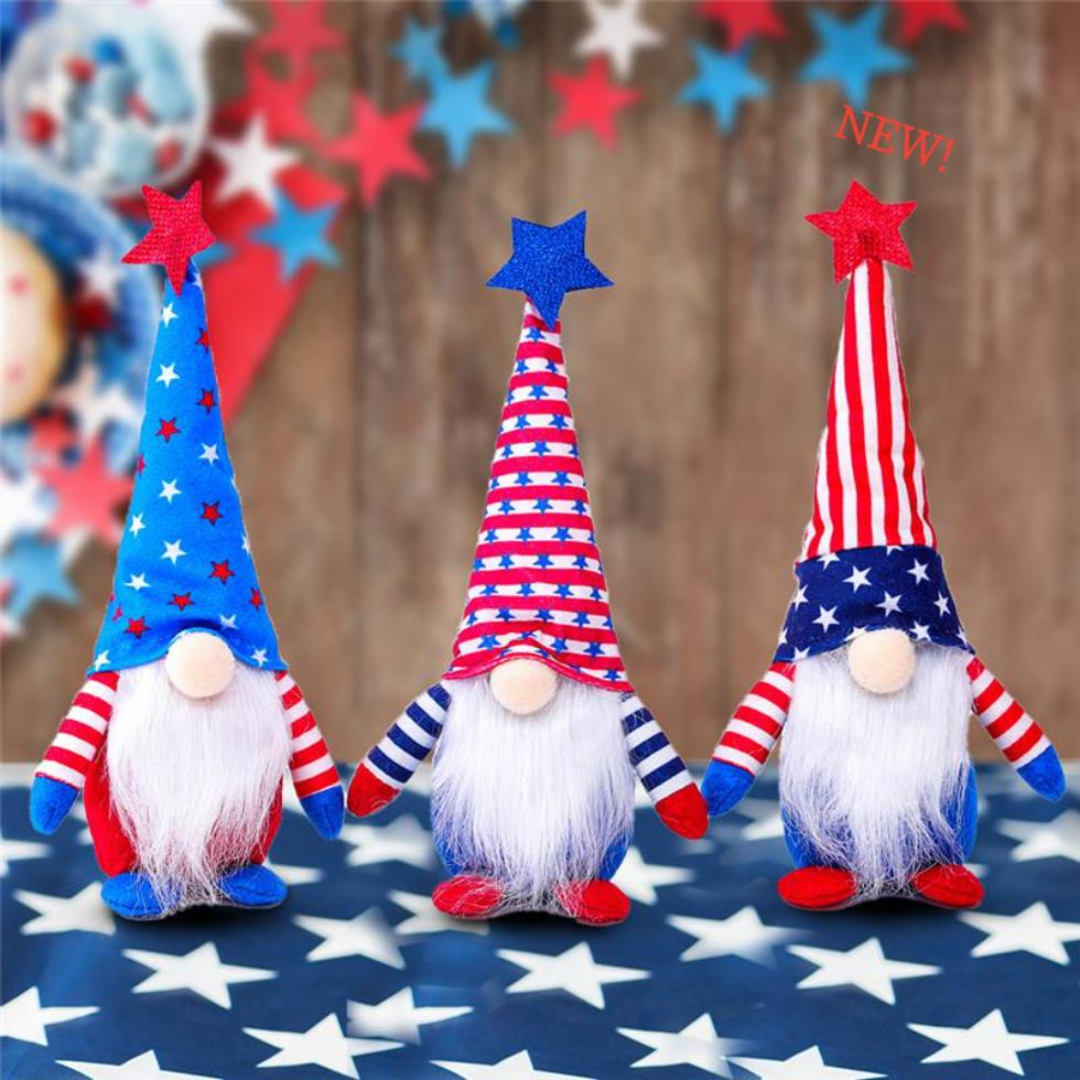 DHL Ship 50pcs Dwarf Patriotic Gnomo per celebrare l'American Independence Day Dwarf Doll 4 luglio Handmade Bambole Plush Bambole Ornamenti FY2605
